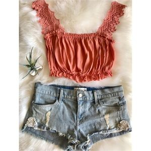 WILDFOX Justine Mid-Rise Cut Off Jean Shorts